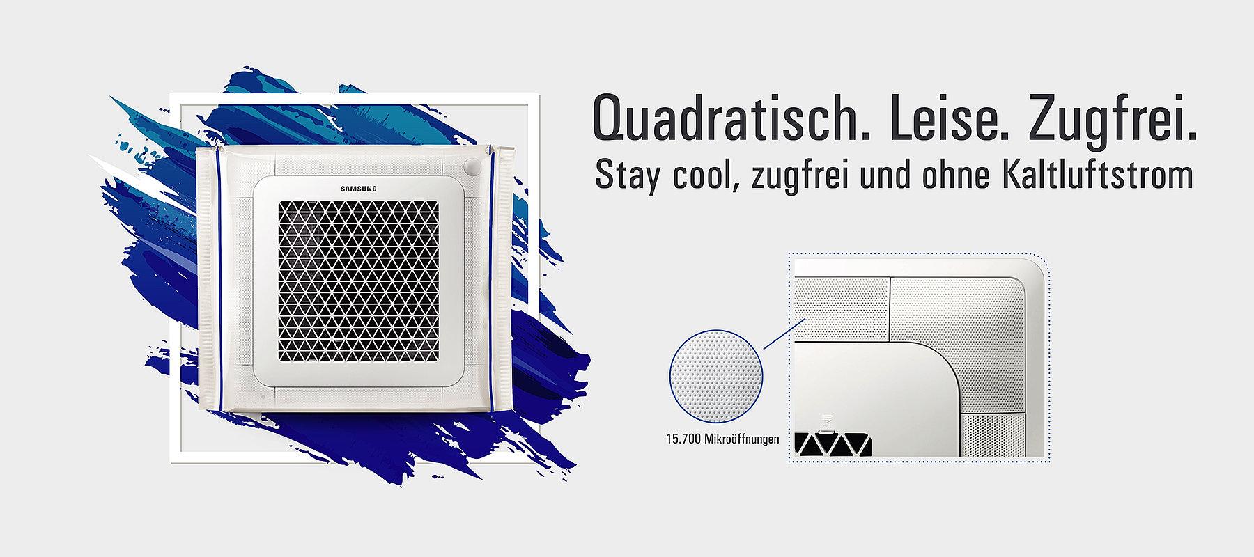 Quadratisch. Zugfrei. Leise. - Stay cool zugfrei ohne Kaltluftstrom.
